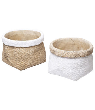 Cosy @ Home Cachepot - Natural white - 23x23xh15.5cm - Round - Cement - (set of 4)