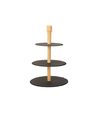 Cosy & Trendy Etagere - Natural - 3 layers - Incl. Toothpick Holder - Slate / Wood.