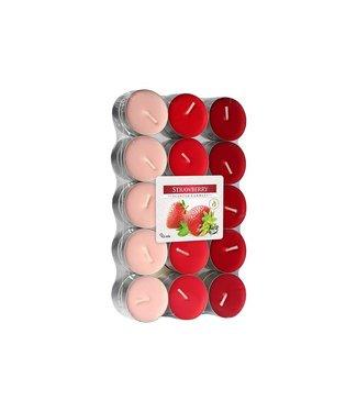 Cosy & Trendy Teelichter - Rot - Erdbeerduft - 4 Stunden - D3.9xh1.62cm - Kerze - (60er Set).