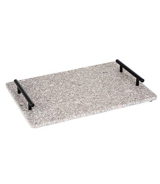 Cosy & Trendy Medical Stone Tray With Black Metal Handles - 35x25cm