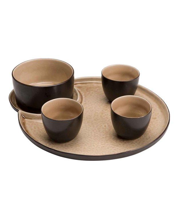 Cosy & Trendy Laguna - Aperoset - Beige - Plate 31x26cm -1x Bowl D11xH6cm - 3x Bowl D7xH6cm - Ceramic - 5-piece