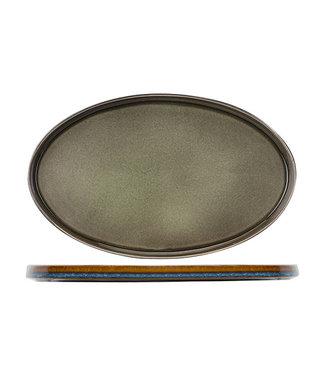 Cosy & Trendy Quintana Green Plat Ovaal Bord 25,5*23,5 cm (Set van 2)