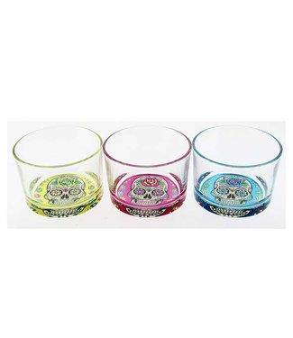 Cerve Mexican Skull - Glas - 23cl - 3 Kleuren - (Set van 12)