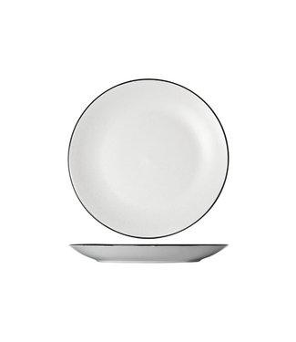 Cosy & Trendy Speckle White Dinerborden - D27cm - Zwarte Boord (set van 6)