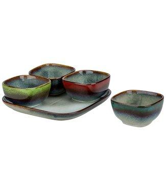 Cosy & Trendy Jamiro-Mix - Aperoset 5-delig - Bord en 4 Bowls - Keramiek - (Set van 2)