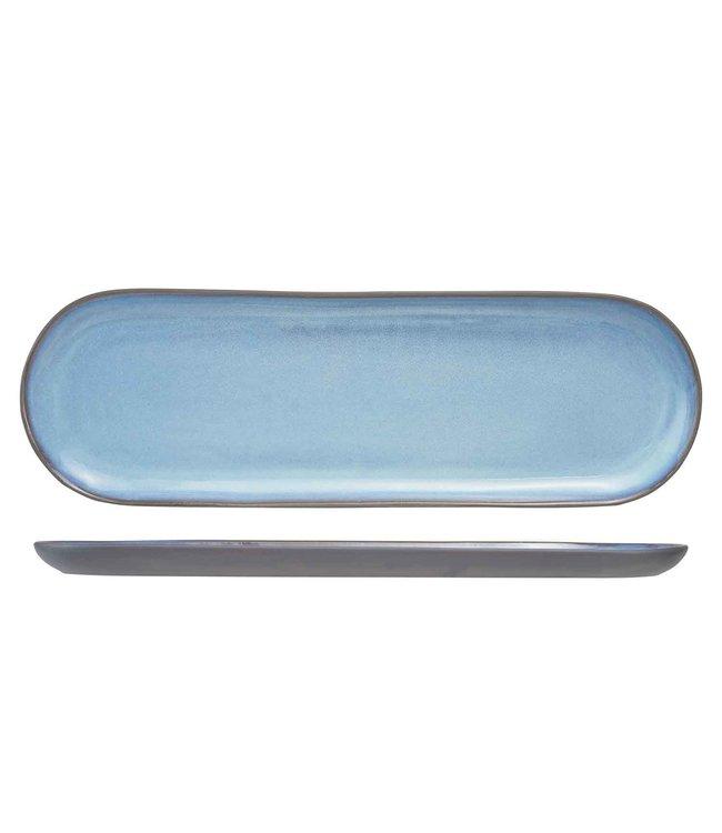 Cosy & Trendy BAIKAL Servies Dinnerborden Blauw Ovaal - 39,5x12,5cm - (set van 4)