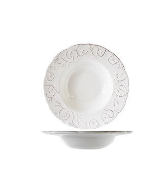 Cosy & Trendy Feston Vine Geschirr Deep Plates mit Patine in Cremefarbe - D24cm - (6er Set)
