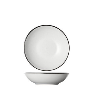 Cosy & Trendy Speckle White Dinnerware Deep Plates White with black Border - D20xh5.3cm - (set of 6)