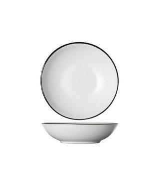 Cosy & Trendy Speckle White Servies Diepe Borden Wit met zwarte Rand - D20xh5.3cm - (set van 6)