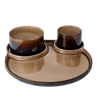 Cosy & Trendy Quintana Amber Plate 3-compartment D32cm With 2 bowls D8xh6 - D11xh6cm (set of 6)