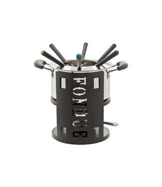 Cosy & Trendy Fondue set -1 Stainless Steel Pot - 6x Fork - 1x Fire - Black - Stainless steel.