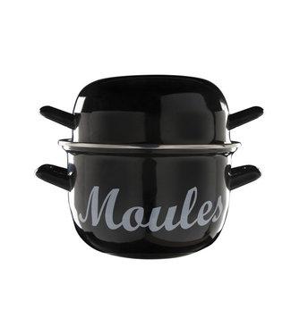 Cosy & Trendy For Professionals Moules - Mosselpot - 1,2kg - Zwart - 2,8l - D18cm - RVS - afgerond - (set van 6).