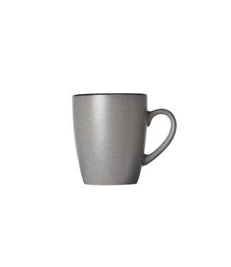 Cosy & Trendy Speckle Grey Mug 35cl 12x8,5xh10cmblack Rim (set of 6)