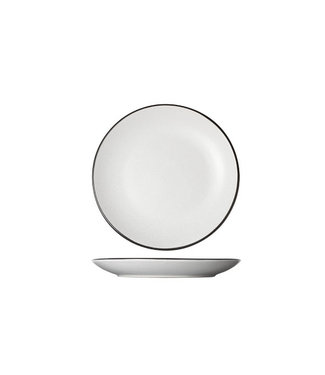 Cosy & Trendy Speckle White Dessert Plate D19.5xh2.5cm black Board  - Ceramic - (Set of 6)