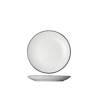 Cosy & Trendy Speckle Wit Dessertborden D19.5xh2.5cm zwarte Boord - Aardewerk - (Set van 6)