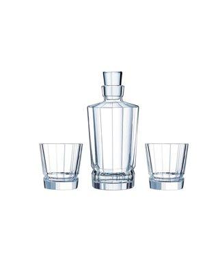 Cristal D'arques Jarra Whiskyset Macassar 3 piezas 2 Vasos 32 cl