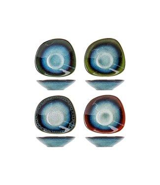 Cosy & Trendy Jamiro - Mix Schaaltje - 18x16xh4,5cm - Keramiek -  Blauw - (set van 4)