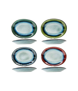 Cosy & Trendy Jamiro Mix - Schaal - Blauw - 26,5x19,5xh5cm - Keramiek - (set van 8).