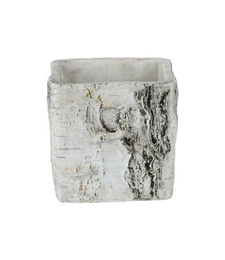Cosy @ Home Flowerpot Schors Look Ecorce-bark Greige 12x12xh12cm Square Ceramic