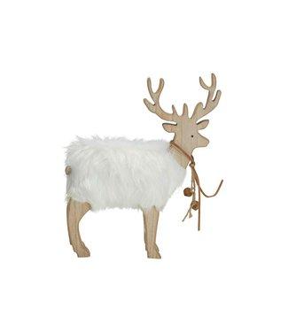 Cosy @ Home Hert White Fur Natuur 26x5xh34cm Hout