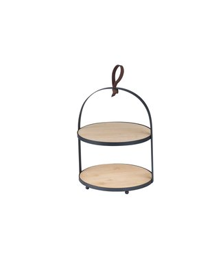 Cosy & Trendy Etagere - Bamboo - Metal Holder - D20,5xh26cm