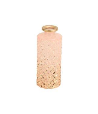 Cosy @ Home Vase Waffle Glitter Hellrosa 5,5x5,5xh13,5cm Rund Glas (4er Set)