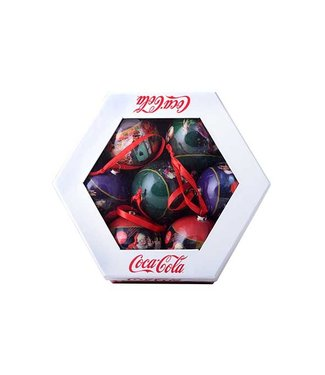Goodmark Coca Cola Kerstbal Santa Set7 Giftboxd7.5cm