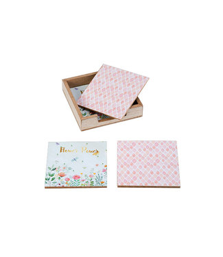 Cosy @ Home Glasonderzetter Set4 Flower Wit 10,3x10,3xh2,2cm Vierkant Hout