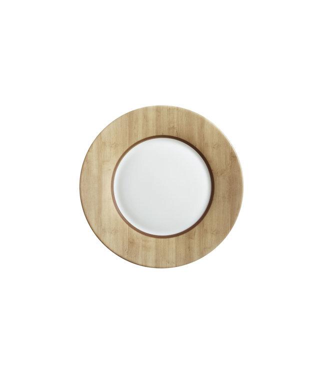 Luminarc Alpage - Dessertbord - Wit en Houtkleur - D22cm - Glas - (Set van 6).