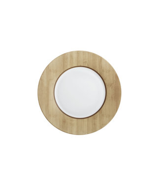 Luminarc Alpage - Dinner plates - White and Wood color - 28 cm - Glass - (set of 6).