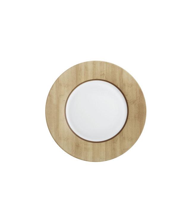 Luminarc Alpage - Dinerborden - Wit en Houtkleur - 28cm - Glas - (set van 6).