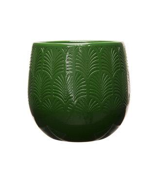 Cosy @ Home Flowerpot Relief Pf Dark Green 17x17xh16,5cm Round Stoneware