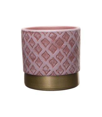 Cosy @ Home Bloempot Decorated Bottom Gold Roze16,5x16,5xh15cm Cilindrisch Aardewerk