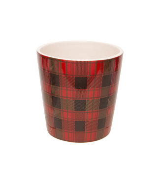 Cosy @ Home Flowerpot Tartan Red 13x13xh13cm Conical Dolomite