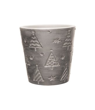 Cosy @ Home Flowerpot Xmas Trees And Stars Silver 11x11xh10,8cm Conical Stoneware