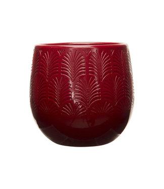 Cosy @ Home Flowerpot Relief Pf Red 17x17xh16,5cm Round Stoneware