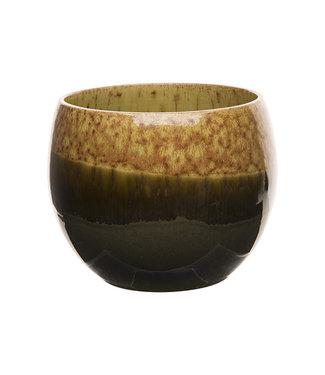 Cosy @ Home Flowerpot Bicolor Degraded Mustard 16x16xh13cm Round Stoneware