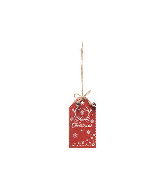 Cosy @ Home Hanger Merry Christmas Rot 5xh9cm Holz (12er Set)