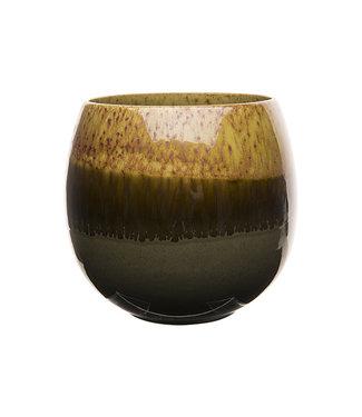 Cosy @ Home Flowerpot Bicolor Degraded Mustard 20x20xh19cm Round Stoneware