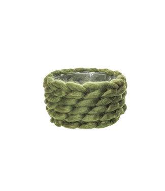 Cosy @ Home Flowerpot Braid Green D20xh11cm Wool