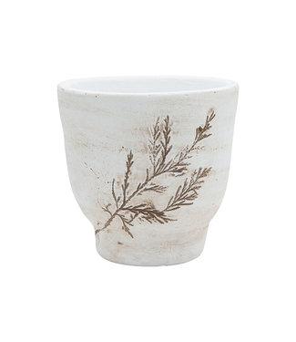 Cosy @ Home Flowerpot On Foot Handmade Leaf Stamp Beige 12x12xh12cm Round Stoneware