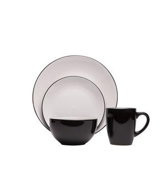 Cosy & Trendy Ancona - Schwarz-Weiß - Geschirrset - 16-teilig - Keramik