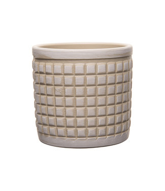 Cosy @ Home Flowerpot 3d Squares Light Grey  13,5x13,5xh13cm Cylindrical Stoneware