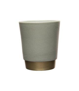 Cosy @ Home Flowerpot Ribbel Gold Bottom Grey 14x14xh16cm Round Stoneware