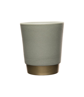 Cosy @ Home Flowerpot Ribbel Gold Bottom Grey 10,5x10,5xh12,5cm Round Stoneware