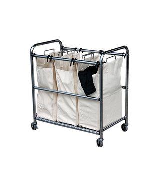 Cosy & Trendy Wasgoedsorteerder Op Wieltjes Met 3 Zakken 77x46xh83cm