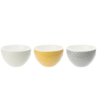 Cosy & Trendy Ludwina - Bowl - Geel-Wit-Grijs - 50cl - D12,8xh7,6cm - Porselein - (set van 6) .