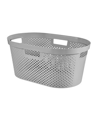 curver Infinity Recycled Wasmand Dots 40l Grijs58.5x38xh26.5cm