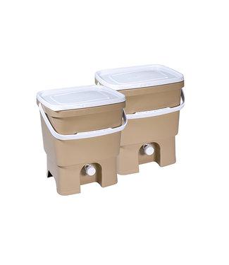 Plastika Skaza Bokashi Organico Eco - Compostemmer - Beige - 33.2x28x39cm - Incl Brain - (set van 2)