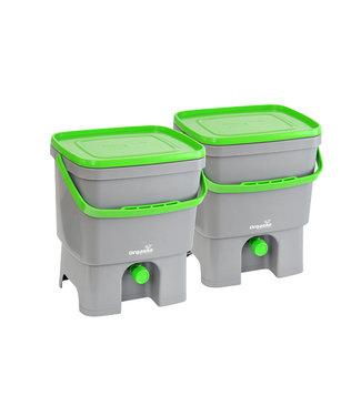Plastika Skaza Bokashi Organico - Öko-Kompostbehälter - Gehirn inkl. - grau-grün - (2er-Set)